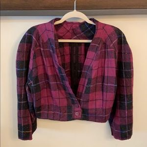Tops - Vintage Plaid Crop Top Blouse With Buttons